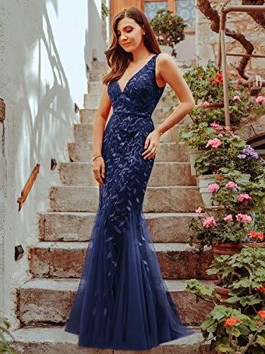 Ever-Pretty a Sirena Tul Vestido de Noche Cuello en V sin Respaldo para Mujer Azul Marino 44