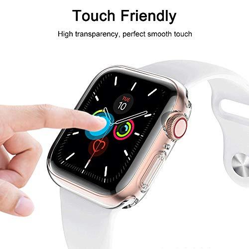 laxikoo 2 Piezas Funda para Apple Watch 44mm Series SE/6/5/4, Protector Pantalla iWatch [Anti-Arañazos] Transparente Carcasa Ultra Delgado Suave TPU Funda para Apple Watch 44mm Series SE / 6/5 / 4