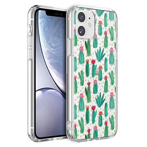 "ZhuoFan Funda para Apple iPhone 12, Cárcasa Silicona Transparente con Dibujos Diseño Suave TPU Antigolpes de Protector Piel Case Cover Fundas Movil para Apple iPhone 12 6,1"", Cactus"